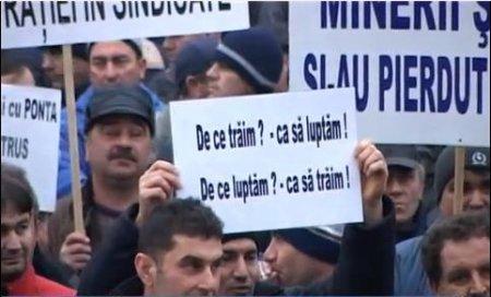 Minerii şi energeticienii în stradă la Târgu Jiu